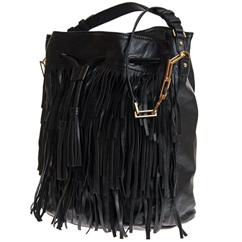 Donna Abro Bucket Bag con frange Nero