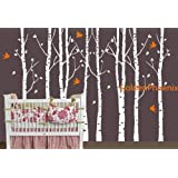 Vinyl Wall Decal Eight Big Birch Tree with Flying Birds Trees Buds Bud Leaves Home House Art Wall Decals Wall Sticker Stickers Baby