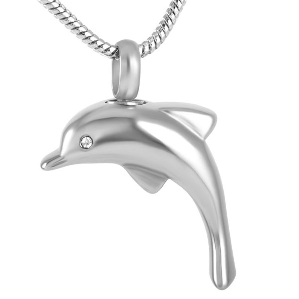 Silver Dolphin Funeral Keepsake Stainless Steel Memorial Urn Pendant Necklace with Clear Crystal Inlay Constanlife Jewelry 9138