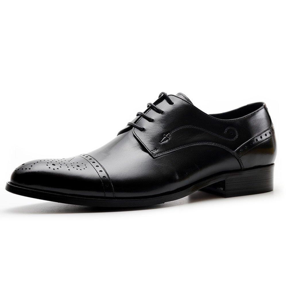 LYZGF Herren Schnürung Gentleman Business Casual Fashion Bullock Geschnitzt Schnürung Herren Lederschuhe 366386