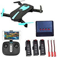 Selfie drone with camera 2MP HD WiFi FPV Quadrocopter drone, foldable arm RC Quadcopter RTF, remote control & APP control Headless mode 3-battery rechargeable battery+1 to 4 Battery Charger