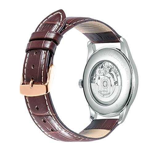 iStrap 22mm Genuine Leather Watch Band Alligator Grain Rose Gold Tang Buckle Padded - Brown (Usa Genuine Leather 3 Piece)