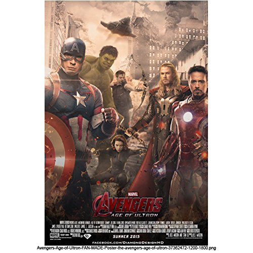 Avengers Age of Ultron, Main Avenger Group Movie Poster with Sepia Destoyed City Background 8 X 10 Inch Photo