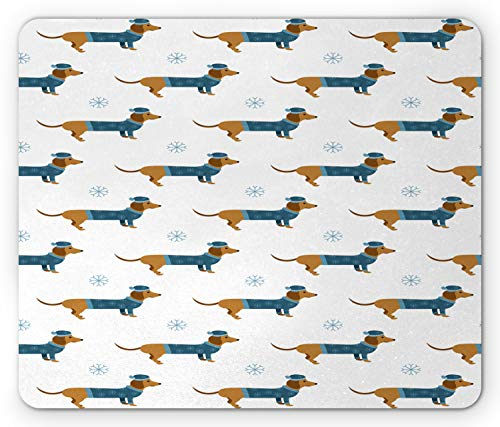Ambesonne Dachshund Mouse Pad, Winter Cartoon Sausage Dog in Pullover and Snowflakes, Standard Size Rectangle Non-Slip Rubber Mousepad, Ginger Dark Turquoise Pale Blue White