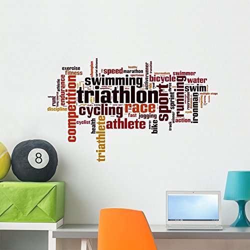 Triathlon Word Cloud Wall Decal by Wallmonkeys Peel and Stick Graphic (36 in W x 22 in H) - A Is Triathlon What Order