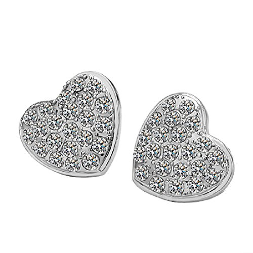 CY-Buity European Style White Gold Plated Shining Exquisite Love Heart Crystal Rhinestone Earring - Styles Women For