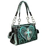 Montana West Handbags Embroidered Heart Spiritual Cross Western Purses MW648-8085 (Black)