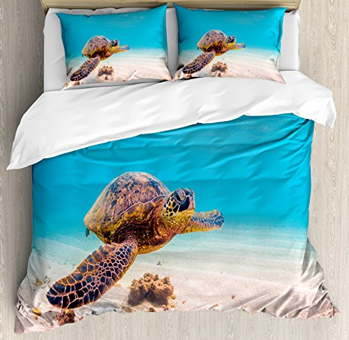 Hawaiian Kids Bedding (Turtle Duvet Cover Set King Size by Ambesonne, Hawaiian Green Sea Turtle Cruises in Warm Waters of the Pacific Ocean Photo, Decorative 3 Piece Bedding Set with 2 Pillow Shams, Aqua Cinnamon Brown)