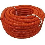 (1 1/2'' Dia. x 100 ft, Orange) HydroMaxx Flexible Polyethylene LDPE NON-Split Corrugated Wire Loom Tubing