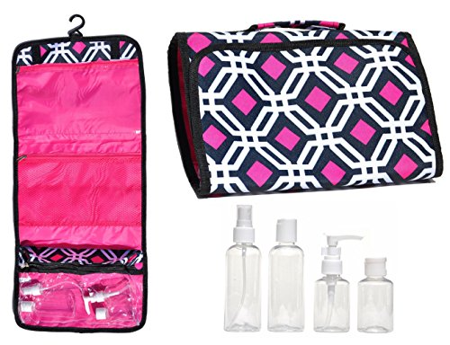 New Large Black Pink Hanging Travel Makeup Toiletries Cosmetic Bag Case Organizer with 4 Pack Travel Size Bottle Set Gift Idea Teen Girls Women Mom (StyleA)