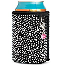 Rhinestone Insulated Black Cooler Sleeve for Beer and Soda Cans