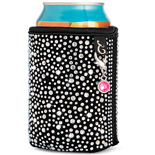 Glamour Puss Can Coolie - Bling Rhinestone Insulated Neoprene Cooler Sleeve for Women. Sparkly Crystal Reusable Beer and Soda Covers for cans and Bottles. (Beer For Women Koozie Bottle)