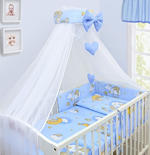 LUXURY 14Pcs BABY BEDDING SET COT BED 140x70cm PILLOW DUVET COVER BUMPER FEEDING PILLOW COT TIDY CHANGING MAT CANOPY (Ladder Blue) TheLittles24