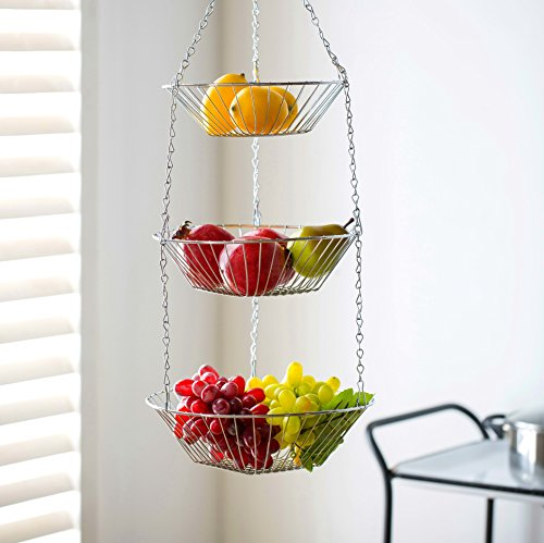 Deppon Wire Hanging Fruit Basket 3-Tiered Detachable Heavy Duty Kep for Home, Kitchen (Tiered Wire)