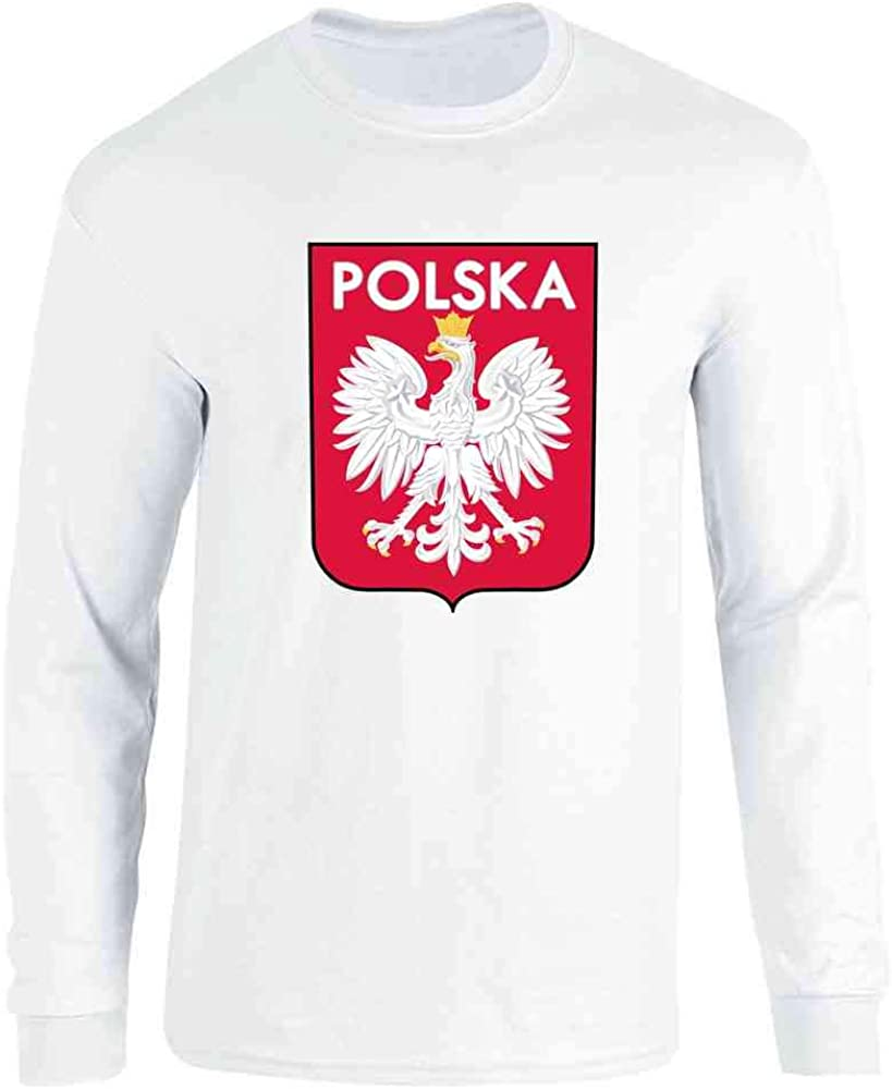 Poland Soccer National Team Football Retro Crest Full Long Sleeve Tee T-Shirt