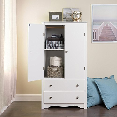Winslow White 2 Drawer Armoire | 58.75 In. H X 31.5 In. W