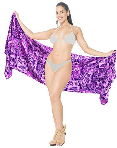 traje de baño corto sarong mujeres mini encubrimiento beachwear del traje de envoltura de la falda pareo Violeta