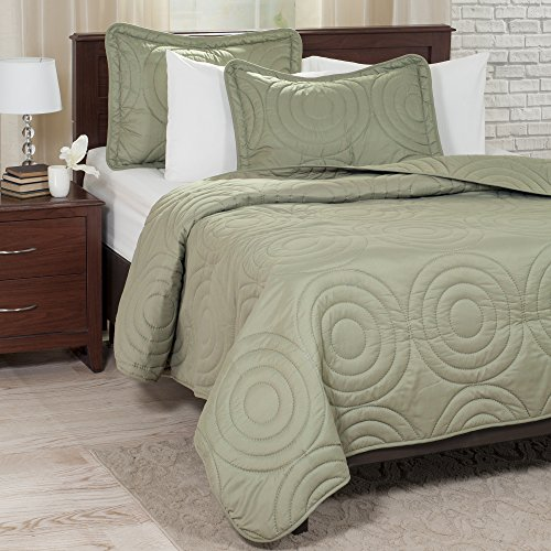 Lavish Home Solid Embossed 2 Piece Quilt Set - Twin - Green