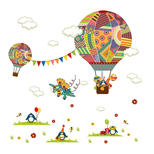 Amaonm Creative Cartoon 3D Hot air Balloon Aircraft Animals and Clouds Wall Decals Stickers - Peel and Stick Removable DIY Vinyl 3D Wall Art Decor for Nursery Room Kids Bedroom Living Room Classroom -