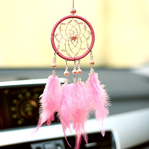 Per Mini Handmade Dream Catchers Wind Chimes Dreamcatcher Net Hanging Decoration Ornament For Room Car (2.713.54in)-Pink by Per (Image #7)