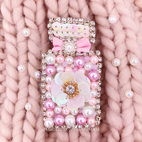 Embroidered Perfume Bottle Crystal Brooch Handmade Pink Rhinestone Pin Gift Her (Bottle Flacon)