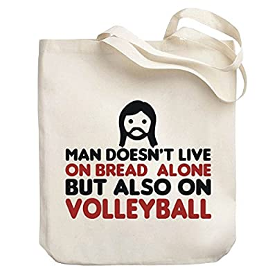 Teeburon MAN DOESN T LIVE ON BREAD ALONE BUT ALSO ON Volleyball Canvas Tote  Bag baf8bd333c1e4