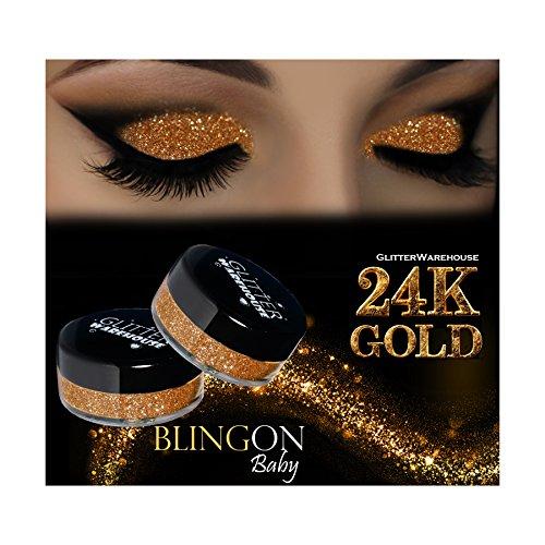 - GlitterWarehouse Glitter Eyeshadow / Eye Shadow Shimmer Makeup Powder 24K Gold