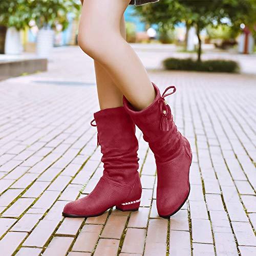 Tte Tassel Vin Dames Aux Basse Chaussures Bottines Martin Genou Vecdy Femmes Bottes Chaud Dcoration Mode Rouge Hautes Ronde Plates Papillon Daim Carre wqvRx6Uxt
