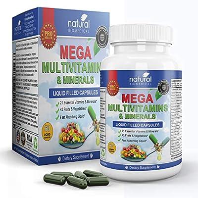 MEGA MULTIVITAMIN Capsules for Women Men - Vitamins and Minerals Liquid Capsules Supplement + Coq10