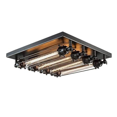 Antiguo Industrial Lámpara de techo Negro Hierro Retro Luz de techo Dormitorio Sala Cocina Comedor Pasillo