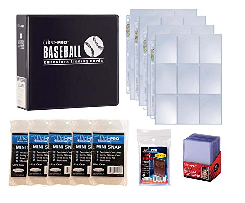 (Ultra Pro Baseball Card Collector Starter Kit – Black Album, 9 Pocket Pages, Sleeves, Top Loaders & Mini Snap Holders)
