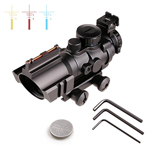 COOCHEER 4X32 Tactical Prism Compact Rifle Scope, Red/Green/Blue Triple Illuminated Reticle & Top mounted Back-Up Iron Sight and Fiber Sight by COOCHEER