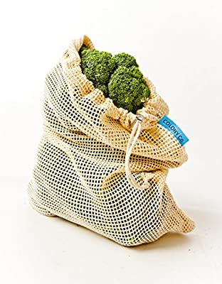 Reusable Produce Bags | 100% Cotton Mesh is Biodegradable | Washer-Dryer Friendly | Strong Double-Stitched Seams | Tare Weight on Label | Set of 10 | Multiple Sizes (Small - Medium - Large)
