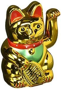 Happy Sales HSFC-WCG01 Battery Operated Maneki Neko Lucky Fortune Gold Cat Waving Arm
