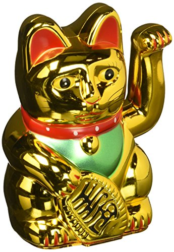 Cat Fortune Good - Happy Sales HSFC-WCG01, Battery Operated Maneki Neko Lucky Fortune Cat Waving Arm Gold