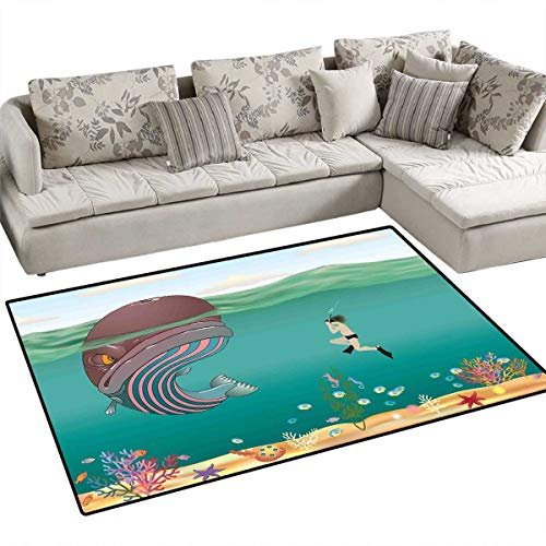- Whale Area Rugs for Bedroom Striped Huge Whale Character Meet with a Diver in Ocean with Shells Cartoon Image Door Mats for Inside Non Slip Backing 3'x5' Multi Colored