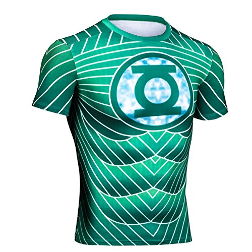 Topway Men's Green lantern Compression Short Sleeve Crewneck Super Heroes T-shirt Wicking Tee (Medium, Green)
