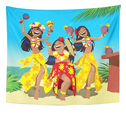 Emvency Tapestry Artwork Wall Hanging Dance Hawaii Party Three Young Hula Girls Dancing on The Beach with Cocktail 50x60 Inches Tapestries Mattress Tablecloth Curtain Home Decor Print