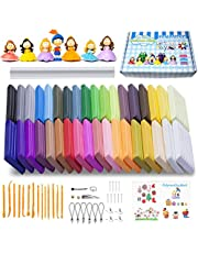 Polymer Clay, 36 Colors Oven Bake Clay Safe and Nontoxic Soft DIY Modelling clay Craft Set with Rolling Pin Modeling Tools Accessories English Manuals.