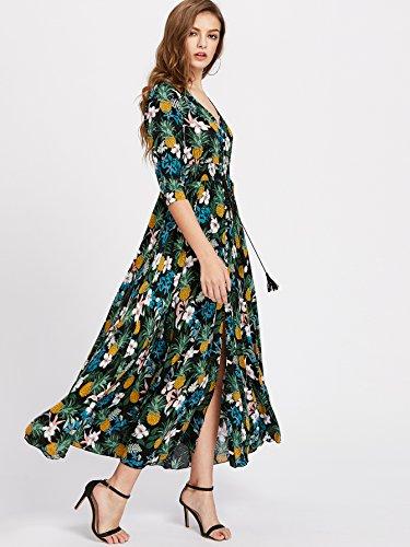 Floral Split Dress up Milumia Party Women's Maxi Dark Button green Print Flowy xqIwAF7