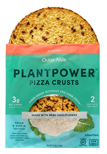 Outer Aisle Gourmet Cauliflower Pizza Crusts | Low Carb, Paleo Friendly, Keto | Jalapeno, 4 Pack - 8 Crusts