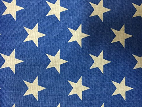 Blue White American Star Print Poly Cotton Fabric - Sold By The Yard - 59