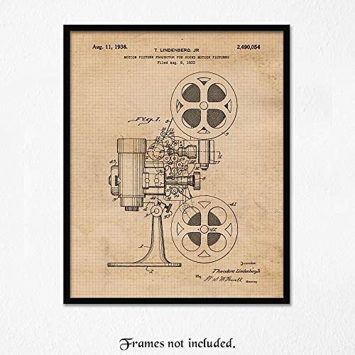Vintage Cinema Movie Projector Patent Poster Prints, Set of 1 (11x14) Unframed Photo, Wall Art Decor Gifts Under 15 for Home, Office, Man Cave, College Student, Teacher, Producer, Arts & Movies Fan