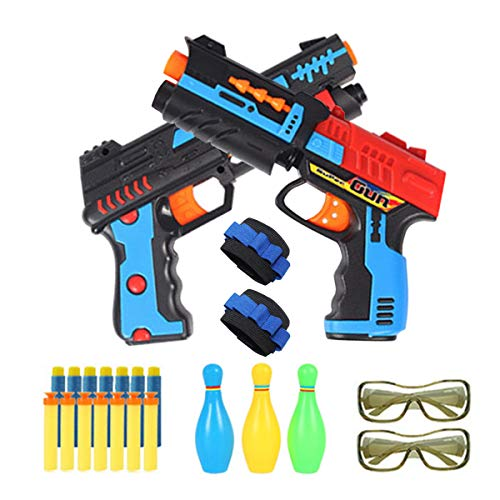 EDOU 2 Pack Set Foam Hand Gun Toy Blaster Pistol for Boys with 2 Foam Dart Wrist Band,3 Target,34 Soft Bullets Compatible with Nerf