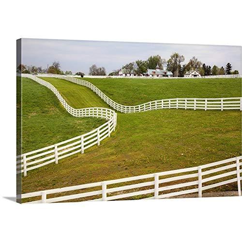 White Fence on Calumet Horse Farm, Lexington, Kentucky Canvas Wall Art Print, 24