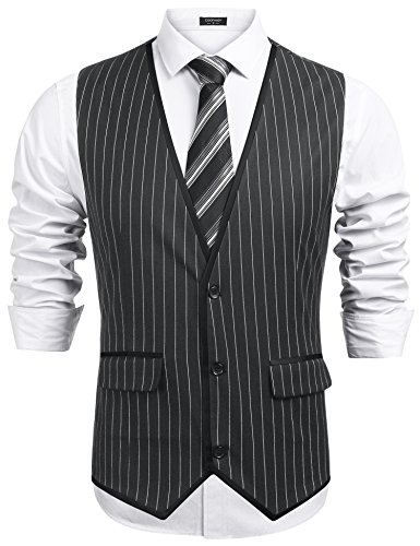 COOFANDYL Men's Suit Vest Stripe Decoration Slim Fit Casual Business Waistcoat Jacket Vests, Grey, Medium -