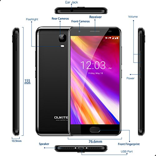 "Unlocked Cell Phones, Oukitel OK6000 Plus 6080mAh Big Battery Smartphone 5.5"" Full HD Dual SIM Android 7.0 Octa Core 4GB RAM 64GB ROM Mobile Phone 12V/2A Quick Charge Fingerprint OTG-Grey"