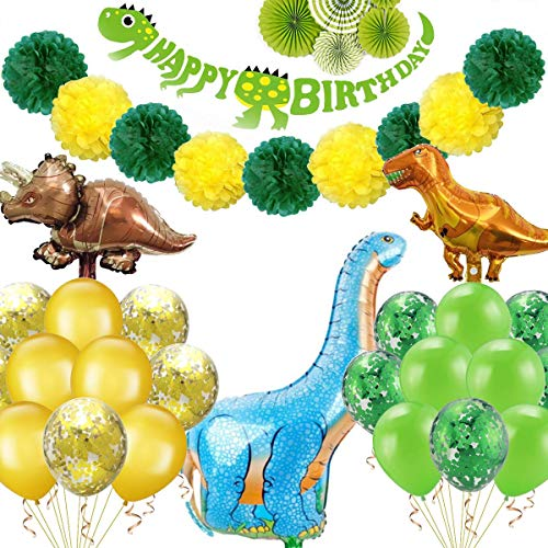 Dinosaur Party Supplies - Dinosaur Party Decoration Pack Including Dinosaur Balloons, Forrest Balloons, a Dinosaur Happy Birthday Banner, 8 Paper Pom Poms, 6 Paper Fan Decorations,Perfect For Kids Birthday Party -