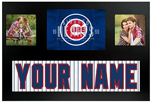 Logo Double Photo Frame - Chicago Cubs MLB Custom Jersey Nameplate and Logo Picture Frame
