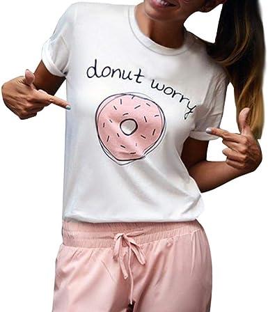 RISTHY Camiseta Mujer Corta Básica, T—Shirt de Manga Corta Verano con Estampado de Dónut Letra Tops Talla Grande Cuello Redondo Originales Blusa de Algodón Casual: Amazon.es: Ropa y accesorios